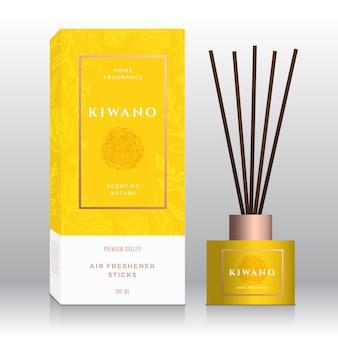 Kiwano maison parfum bâtons abstrait vecteur étiquette boîte modèle croquis dessinés à la main fleurs feuilles bac...