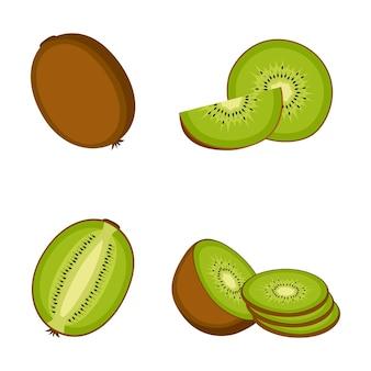 Kiwi, fruit entier, moitié et tranches, sur fond blanc, illustration vectorielle