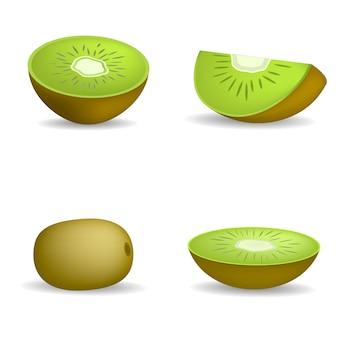 Kiwi fruit food slice icons set. illustration réaliste de 4 icônes vectorielles de slice de fruits kiwi pour le web