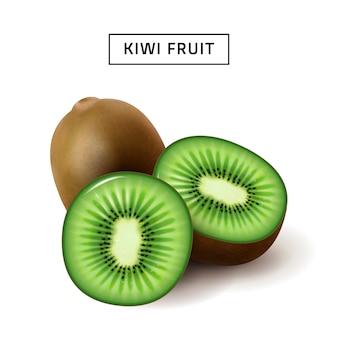 Kiwi, gros plan de fruits isolé sur fond blanc, tranches de kiwi