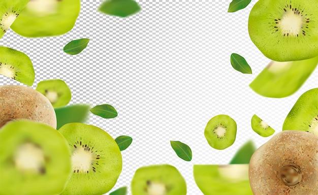 Kiwi réaliste 3d avec feuille verte. kiwi mûr en mouvement.