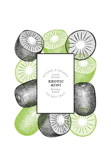 Kiwi de style croquis dessinés à la main. illustration de fruits frais.