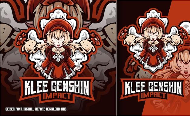 Klee cute girl genshin impact esport logo