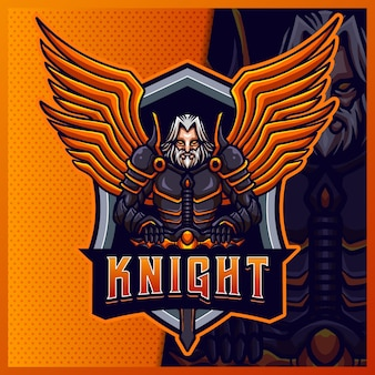 Knight warrior wing mascotte esport logo design illustrations modèle vectoriel, logo de tigre pour le jeu d'équipe streamer youtuber banner twitch discord