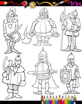 Knights cartoon set pour cahier de coloriage