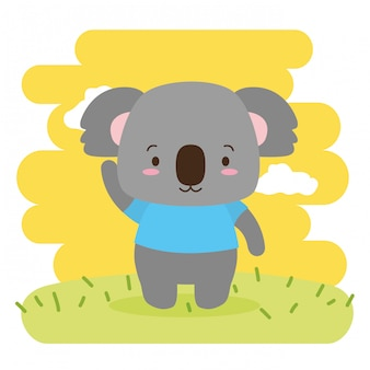 Koala animal mignon, dessin animé et style plat, illustration