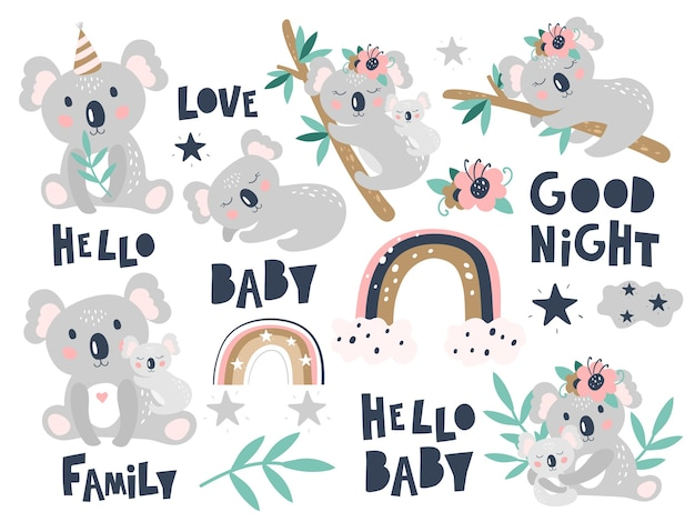 Koala de dessin animé mignon sur fond blanc. impression d'enfants.