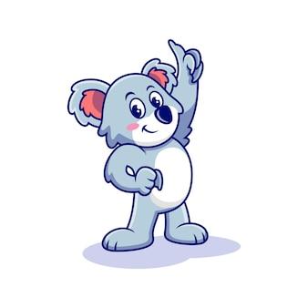 Koala de dessin animé avec une pose mignonne. vecteur premium