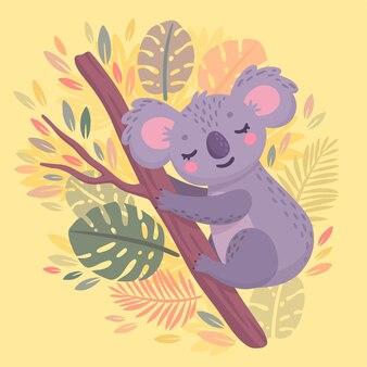 Koala dessiné main mignon dormant sur la branche caractère animal de la jungle paresseuse
