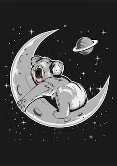 Koala dormir dans la lune