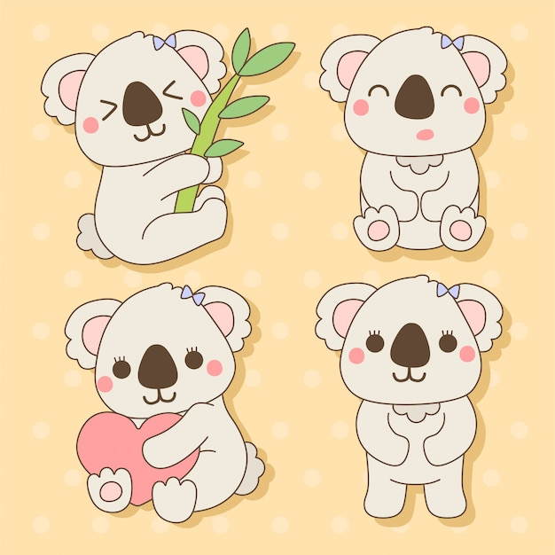 Koala - ensemble d'animaux mignons kawaii charactor illustration