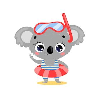 Koala d'été de dessin animé mignon plat avec anneau de natation et masque de plongée. animaux tropicaux d'été sur la plage