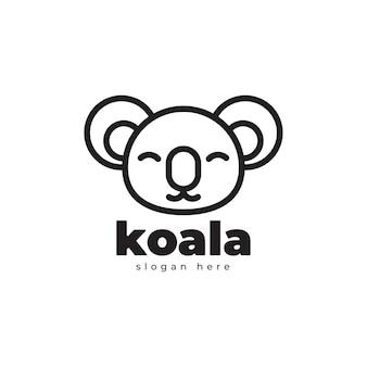 Koala géométrique monoline création de logo de luxe simple