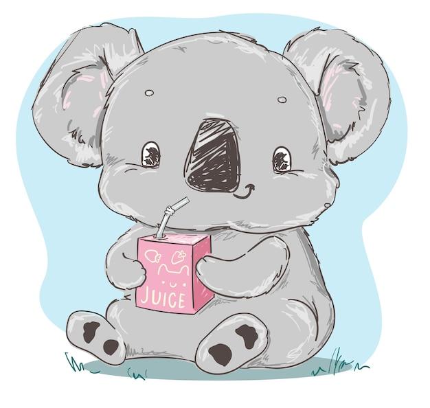 Koala gris mignon assis et buvant l'impression pour enfants de jus pour l'illustration de la crèche