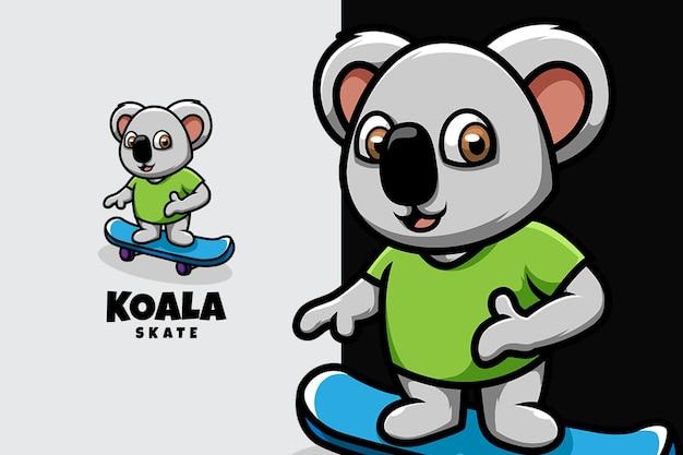 Koala jouant au skateboard et se sentant bien
