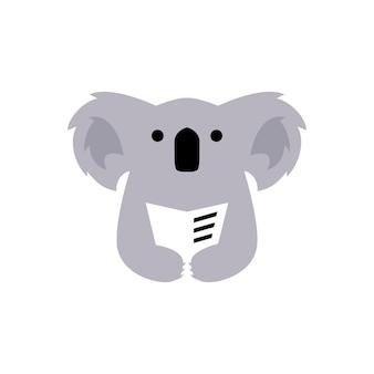 Koala livre lire le journal de l'espace négatif logo vector illustration icône