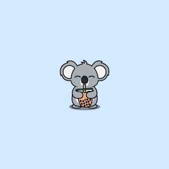 Koala mignon aime la bande dessinée de thé à bulles, illustration