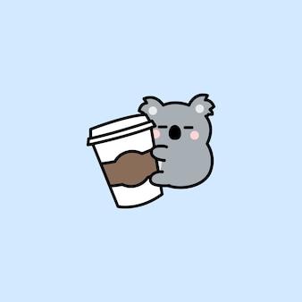Koala mignon aime le dessin animé de café isolé sur bleu
