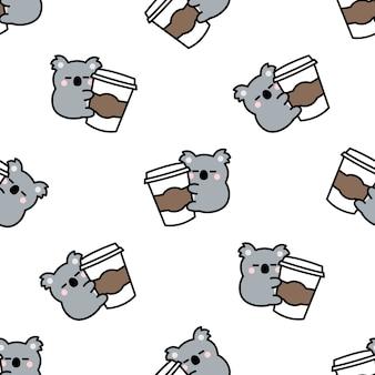 Koala mignon aime le modèle sans couture de dessin animé de café