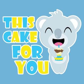 Le koala mignon apporte des dessins animés vectoriels de petit gâteau d'anniversaire, carte postale d'anniversaire, papier peint et carte de voeux, design de t-shirt pour les enfants