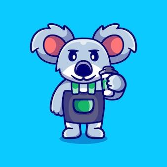 Koala mignon barista tenant du café