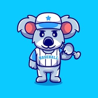 Koala mignon avec batte de baseball