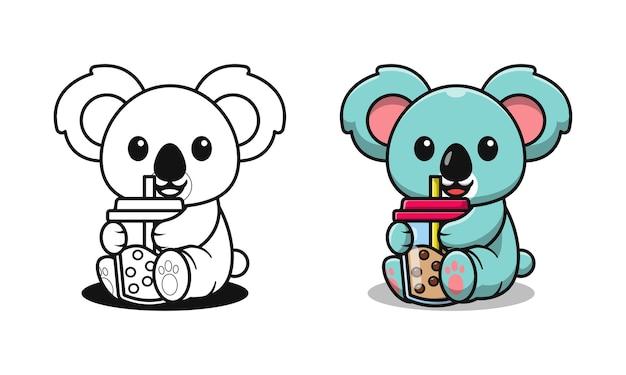 Koala mignon buvant des pages de coloriage de dessin animé de thé à bulles pour les enfants