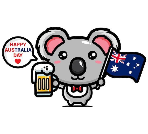 Koala mignon célébrant la joyeuse journée de l'australie