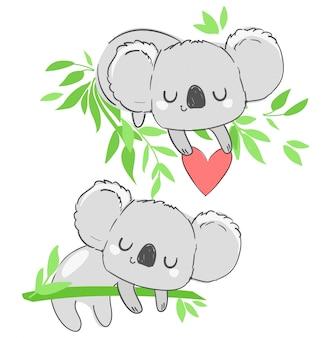 Koala mignon et coeur belle impression enfantine, illustration animale dessinée à la main.