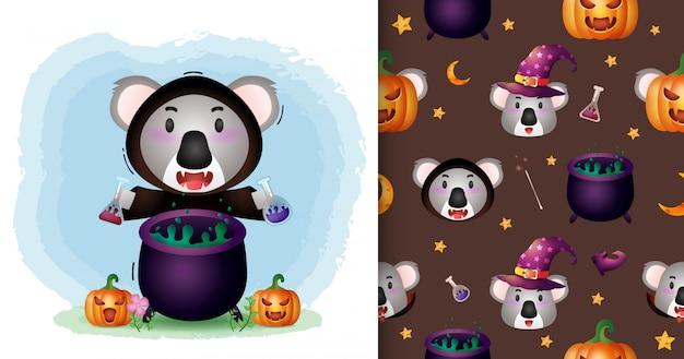 Un koala mignon avec une collection de personnages halloween costume de sorcière. modèles sans couture et illustrations