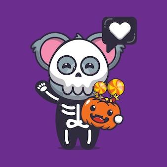 Koala mignon avec costume squelette helloween illustration vectorielle de dessin animé mignon halloween