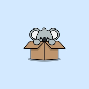 Koala mignon dans l'icône de dessin animé de boîte