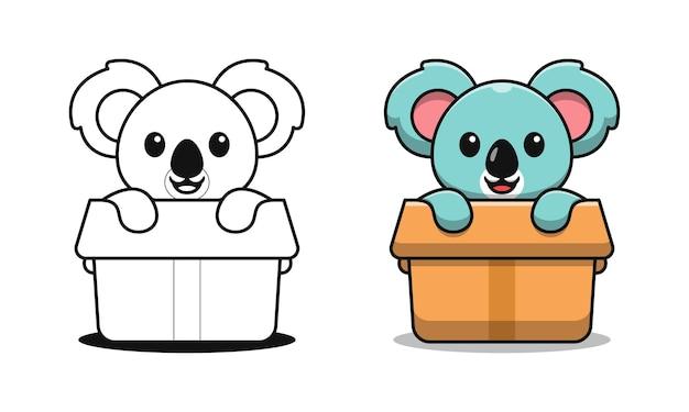 Koala mignon dans les pages de coloriage de dessin animé de boîte pour des enfants