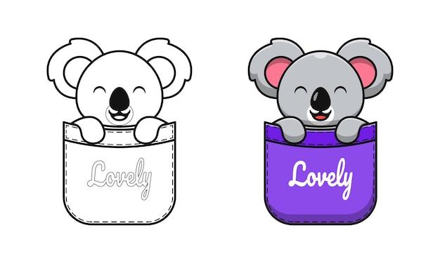 Koala mignon dans des pages de coloriage de dessin animé de poche pour les enfants