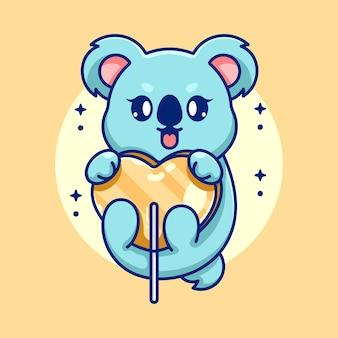 Koala mignon avec dessin animé coeur bonbons