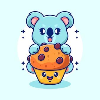 Koala mignon avec dessin animé cupcake