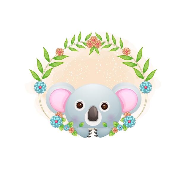 Koala mignon avec dessin animé floral.