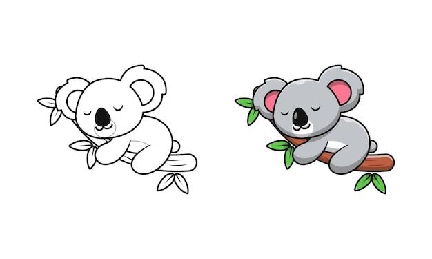 Koala mignon dormant sur des pages de coloriage de dessin animé en bois pour les enfants
