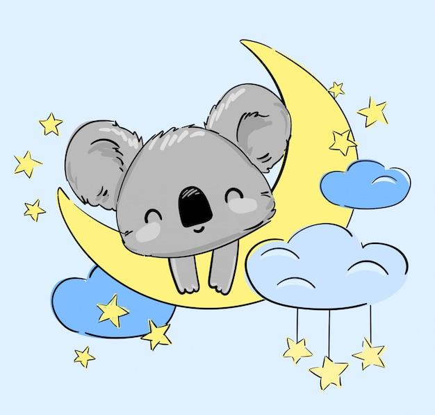 Koala mignon dort sur la lune. illustration. imprimez pour les vêtements, le pyjama, la chemise de nuit, les textiles. design enfantin.