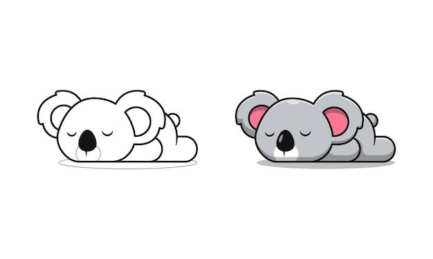 Koala mignon dort pages de coloriage de dessin animé pour les enfants