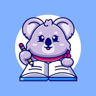 Koala mignon écrit sur livre avec dessin animé au crayon