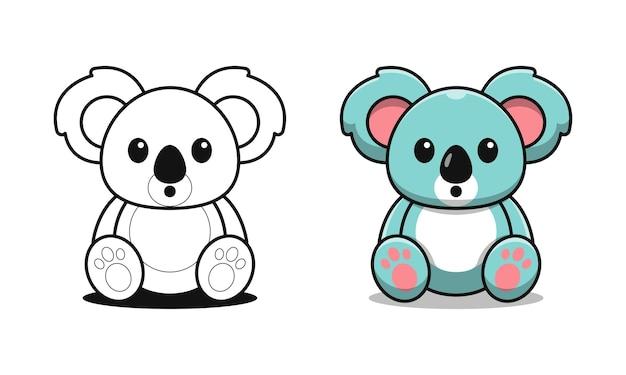 Le koala mignon est assis des pages de coloriage de dessin animé pour les enfants