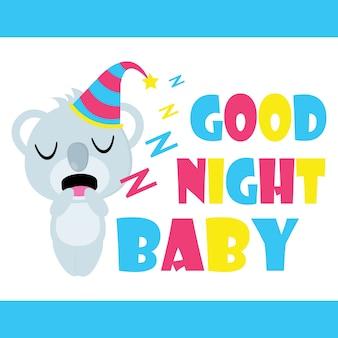 Le koala mignon est un dessin animé vecteur endormi, une carte postale pour enfant, un fond d'écran et une carte de voeux, un design en t-shirt pour les enfants