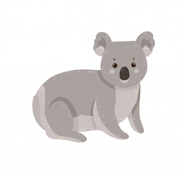 Koala mignon isolé sur fond blanc.