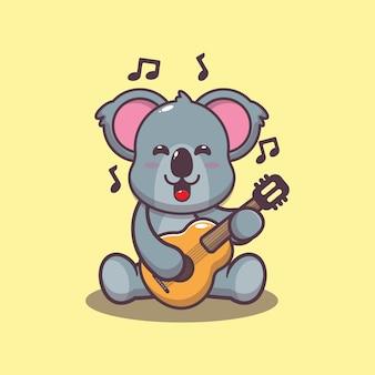 Koala mignon jouant de la guitare illustration vectorielle de dessin animé