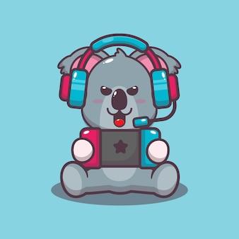 Koala mignon jouant une illustration de vecteur de dessin animé de jeu