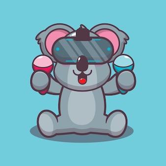 Koala mignon jouant à l'illustration vectorielle de dessin animé de jeu de réalité virtuelle
