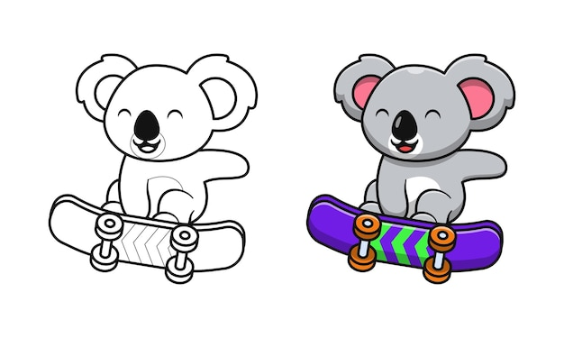 Koala mignon jouant des pages de coloriage de dessin animé de planche à roulettes pour les enfants