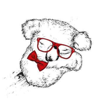 Koala mignon avec des lunettes et un nœud papillon