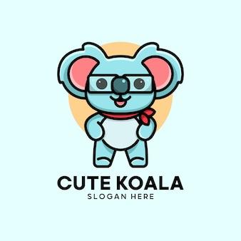Koala Mignon Avec Des Lunettes Vecteur Premium